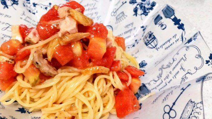 トマトと豚バラの冷静パスタ