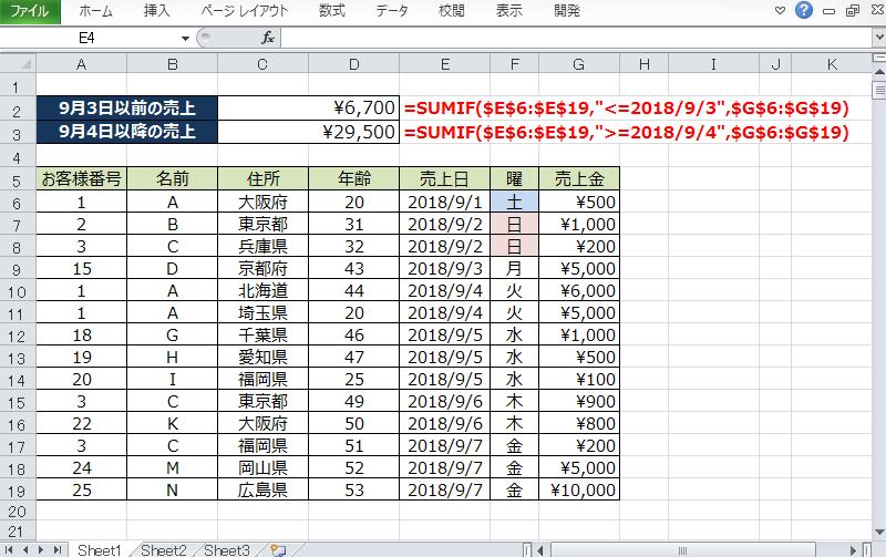 SUMIF等号_日付